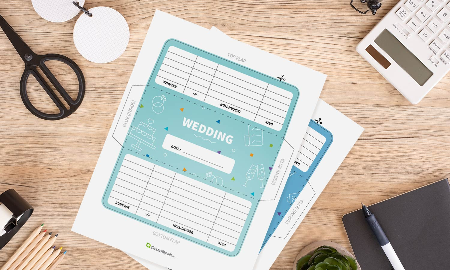 Wedding-themed cash envelope printables on a table