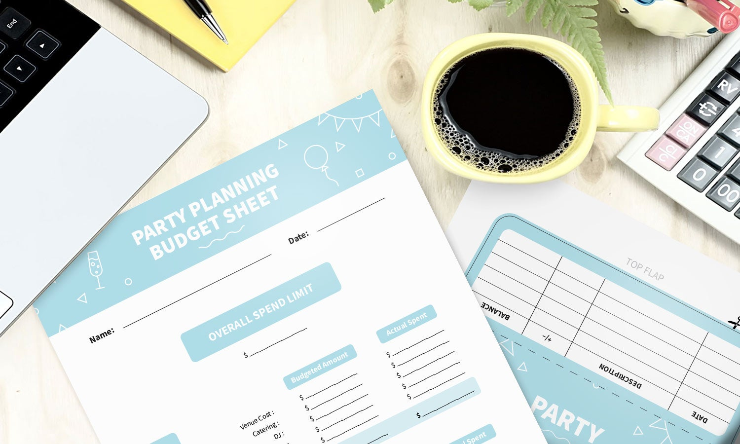 Budget template and cash envelope templates for party budgeting laid out on desk