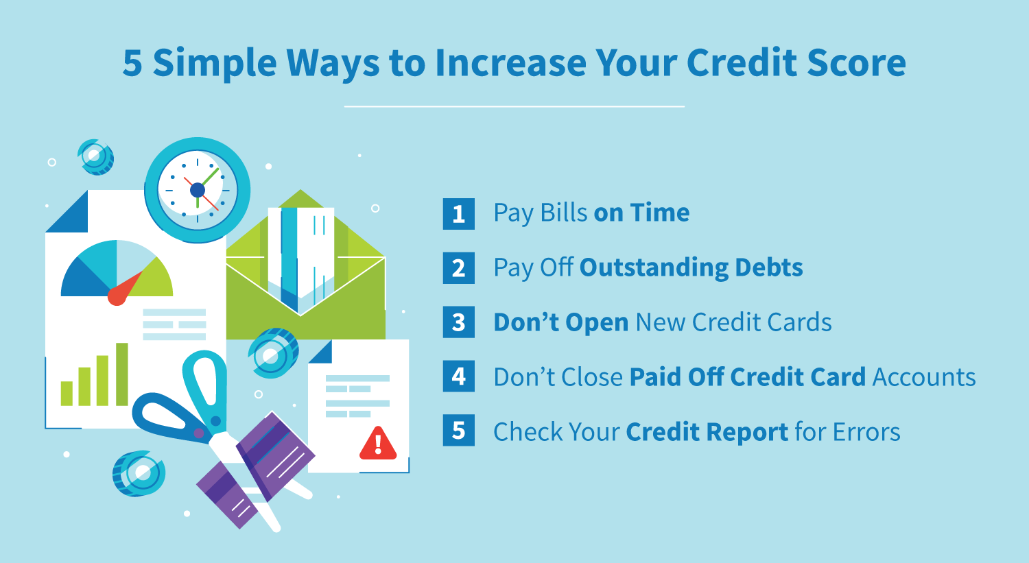 5 simple ways to increase your credit score.