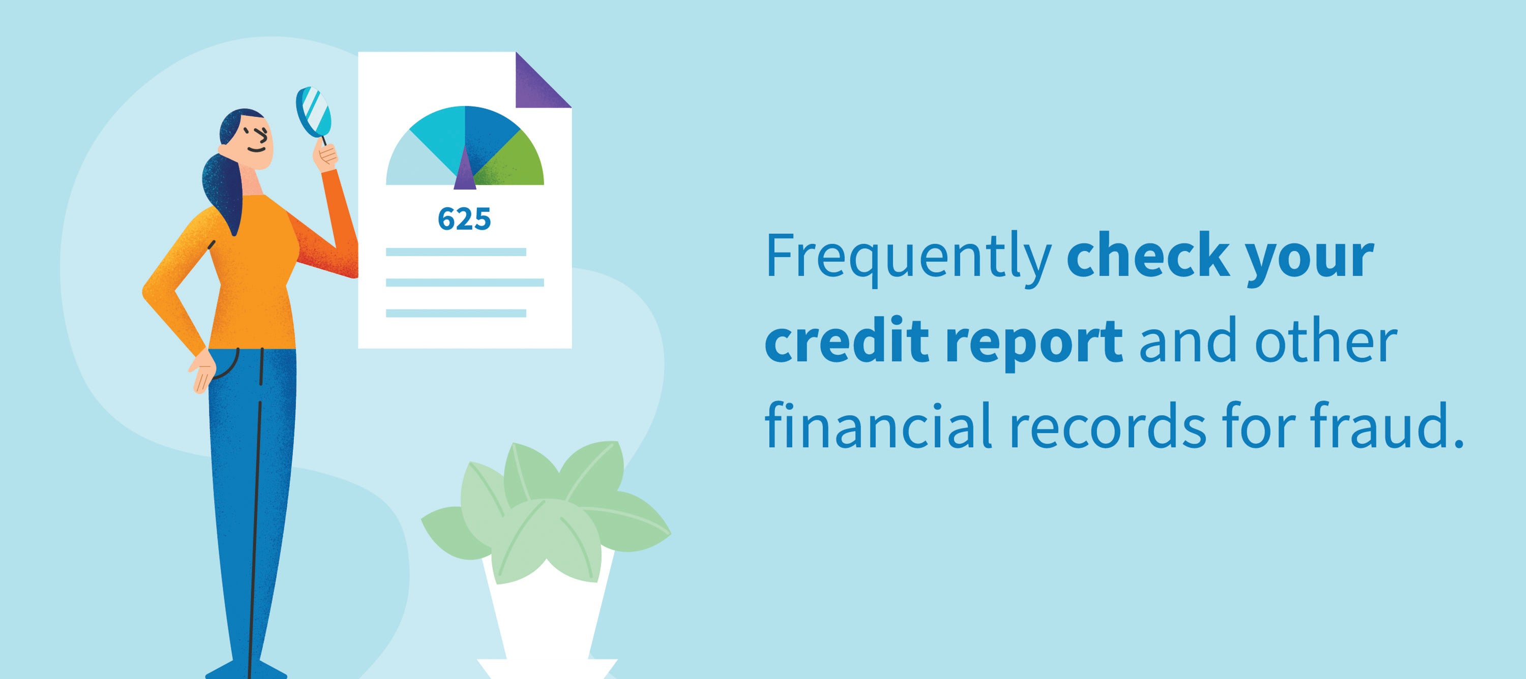 Frequently check your credit report and other financial records for fraud.