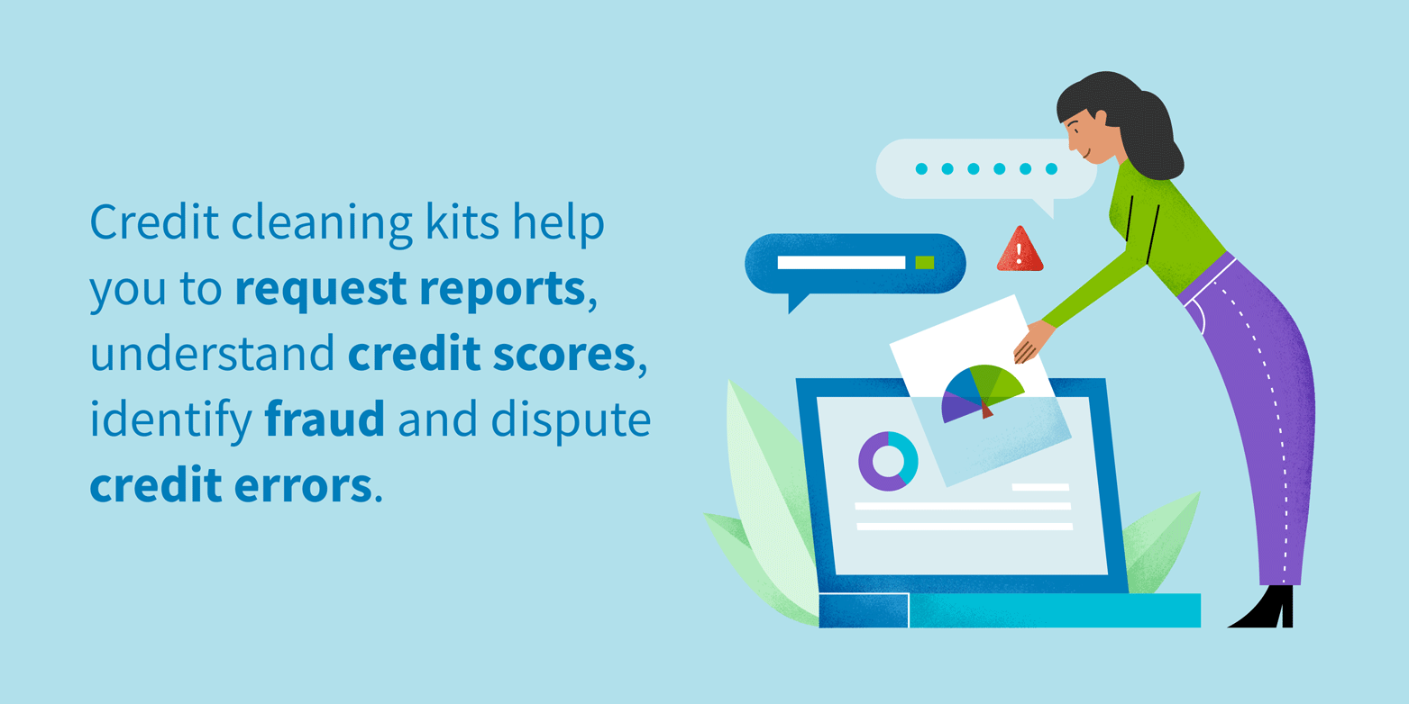 credit cleaning kits help you to request reports, understand credit scores, identify fraud and dispute credit errors.