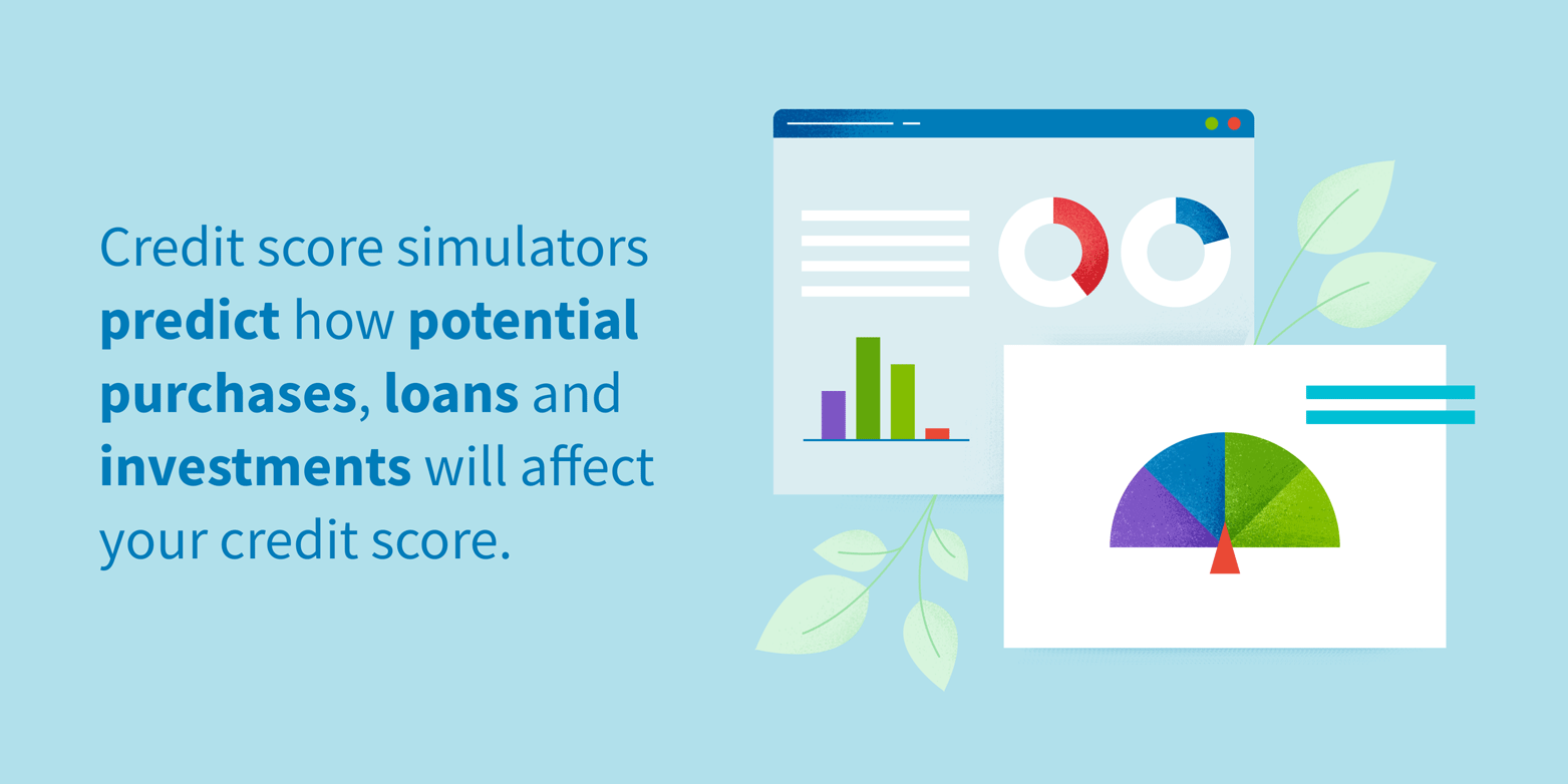 Credit score simulators predict how potential purchases, loans and investments will affect your credit score.