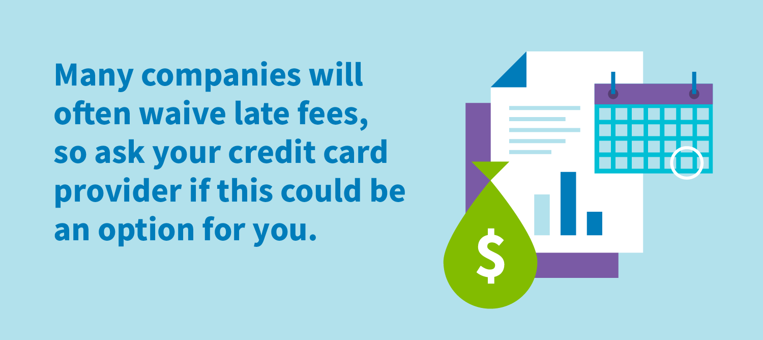 Many companies will often waive late fees, so ask your credit card provider if this could be an option for you.