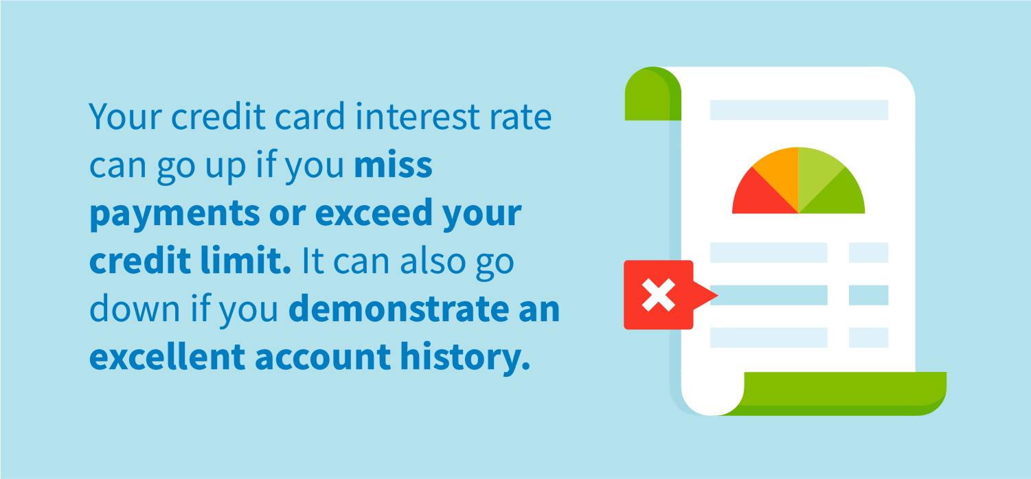 Your credit card interest rate can go up if you miss or exceed your credit limit. It can also go down if you demonstrate an excellent account history.