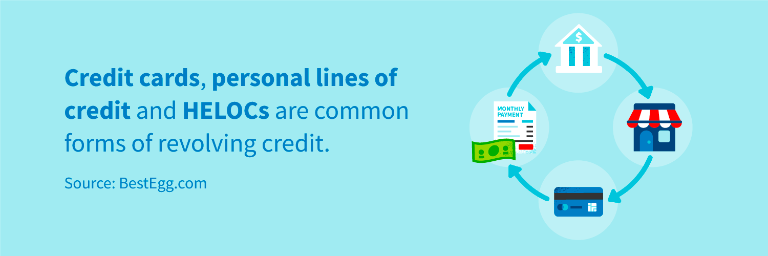 Credit cards, personal lines of credit and HELOCs are common forms of revolving credit.
