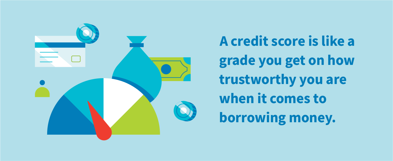 A credit score is like a grade you get on how trustworthy you are when it comes to borrowing money.
