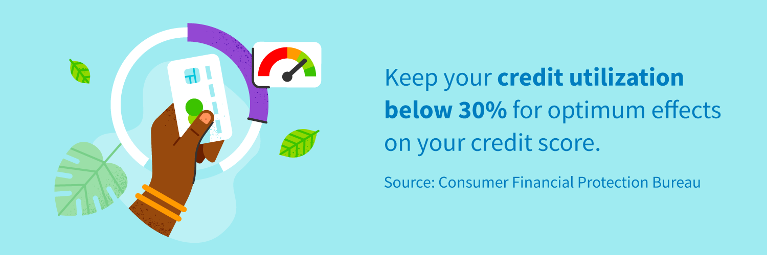 Keep your credit utilization below 30% for optimum effects on your credit score.