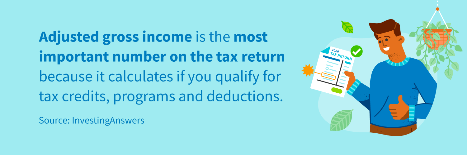 Adjusted gross income is the most important number on the tax return because it calculates if you qualify for tax credits, programs and deductions.
