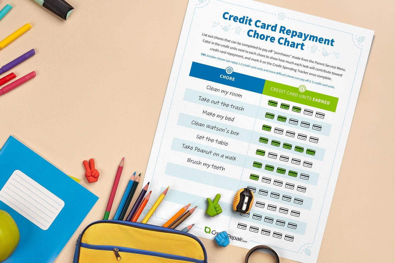 Credit card repayment chore chart printable.