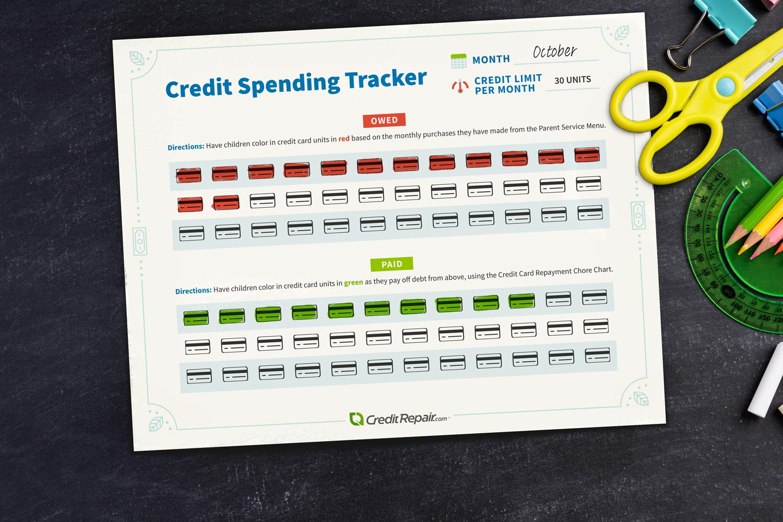Credit spending tracker printable.