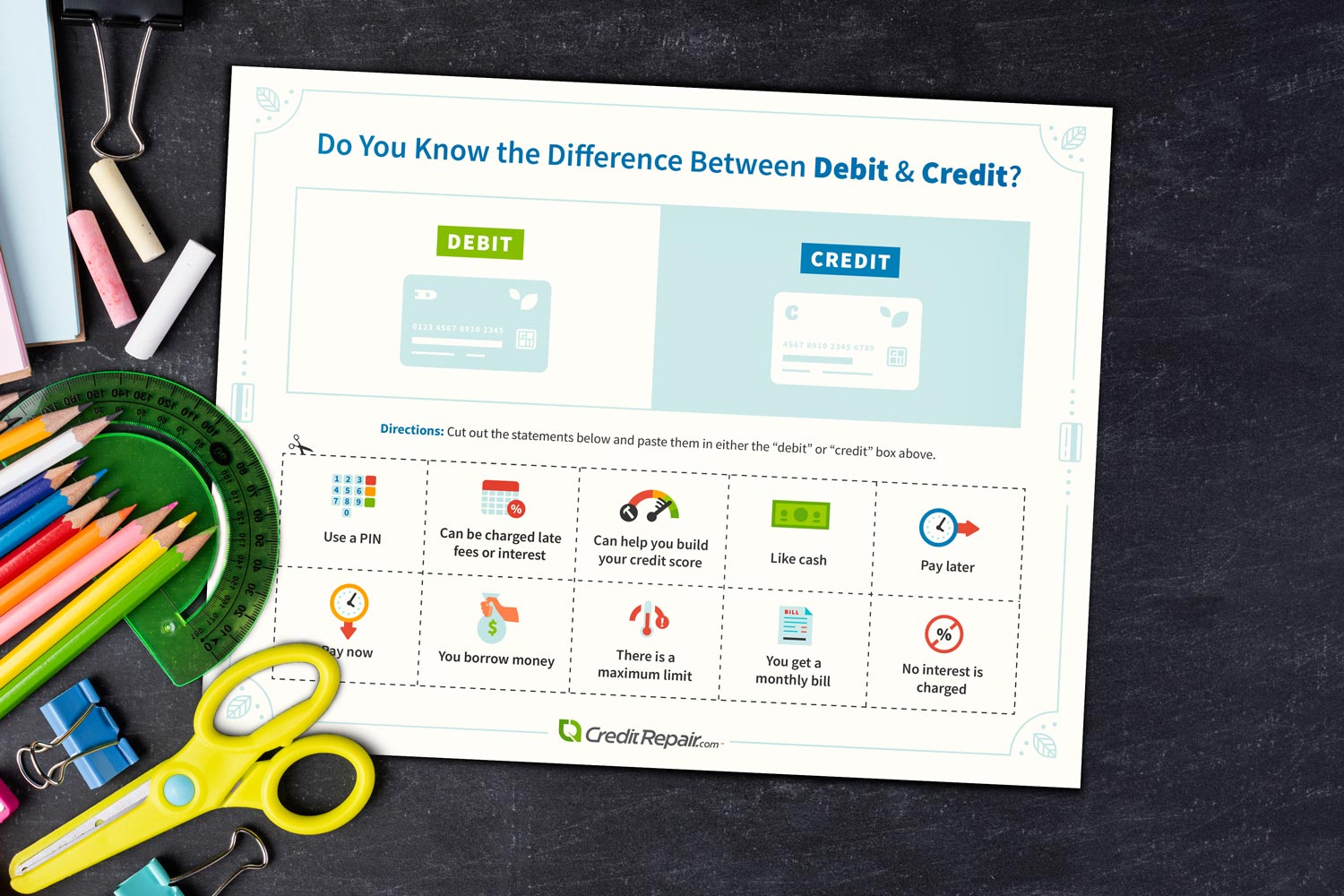 Difference between debit and credit printable chart.