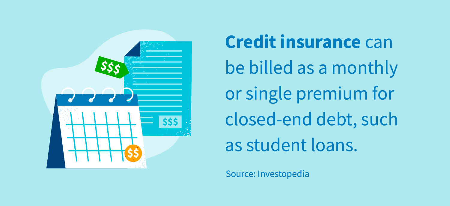 Credit insurance can be billed as a monthly or single premium for closed-end debt, such as student loans. Source: Investopedia.