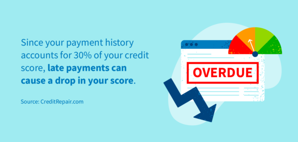 Late payments can cause a drop in your score, since payment history accounts for 30% of your credit score.