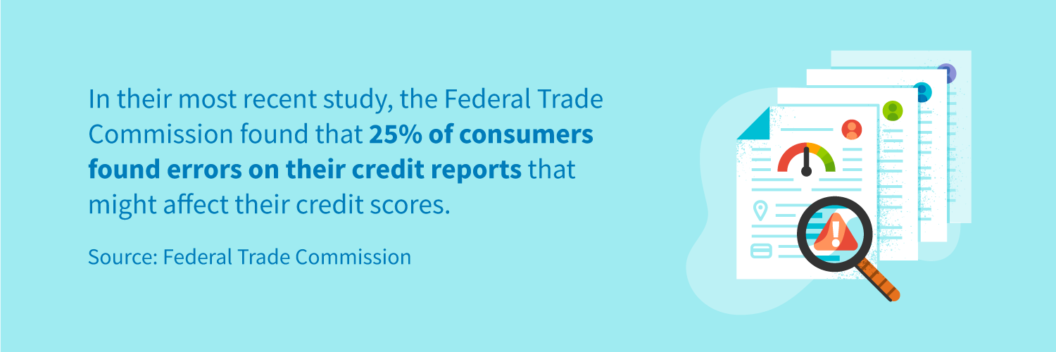 FTC found 25% had a potentially material error on at least one of their three credit reports
